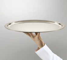 Doctor Holding Empty Silver Tray (image With Path)
