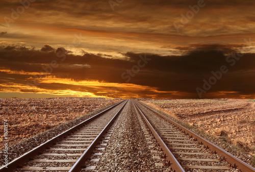 Poster Voies ferrées ferrovia nel deserto