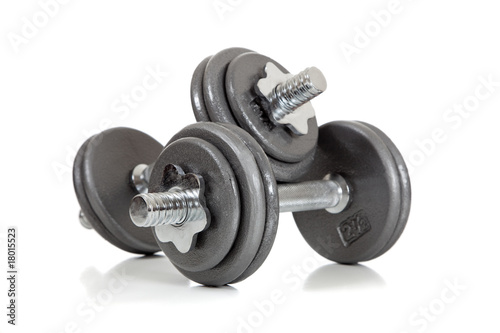 Fotografia  set of dumbells on white