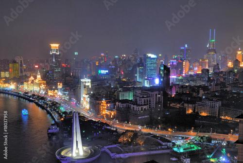 Photo  China Shanghai Bund and Puxi aerial night view