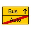 ortsschild - auto - bus