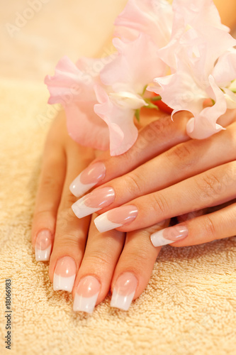 Hands of young woman with french manicure