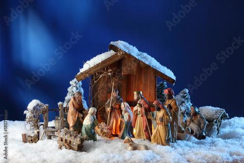 Fotografie, Obraz  weihnachten krippe im schnee