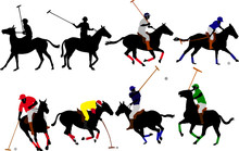 Polo Players Vector Silhouettes