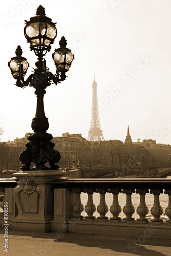 Photo  Lamppost on the bridge of Alexandre III in Paris, France
