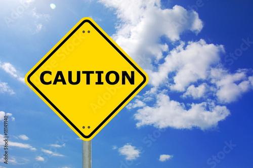 Fotografie, Obraz yellow caution sign