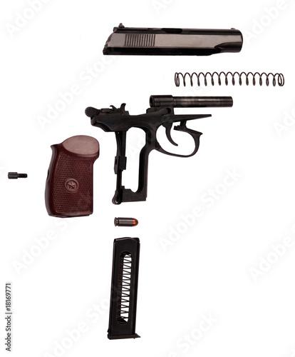 makarov pistol disasembled isolated
