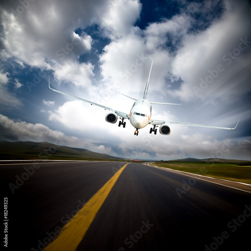 Fototapety, obrazy: the airplane with the blue sky background.