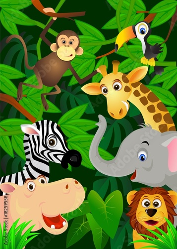 Deurstickers Zoo Wild animals in the jungle