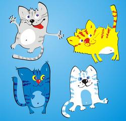 Obraz na płótnie Canvas Four amusing cats