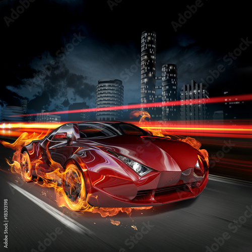 Obraz Płonący samochód - fototapety do salonu