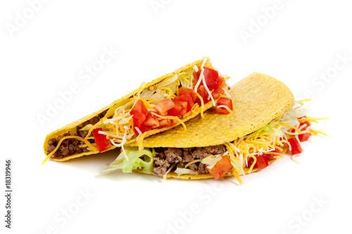 Fotografie, Obraz  Two tacos on a white background
