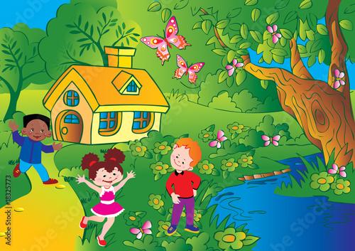 Glad kids playing. Happy childhood. Vector art-illustration.