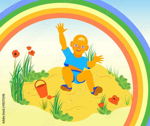 In de dag Regenboog Illustration of boy having fun on the sand