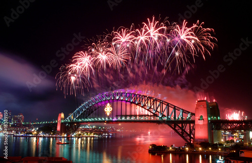 Canvas Print Sydney Harbour Bridge and fireworks