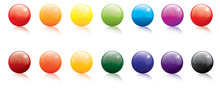 Collection Of Colored Gel Filled Icon Buttons
