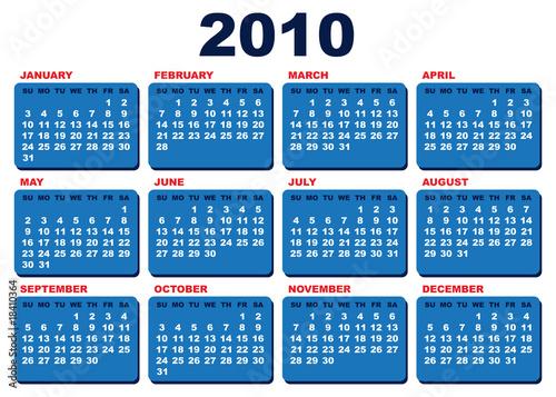 Fényképezés  Vector 2010 calendar template