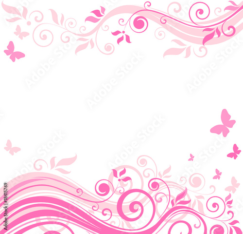 Ingelijste posters Vlinders in Grunge Floral pink border