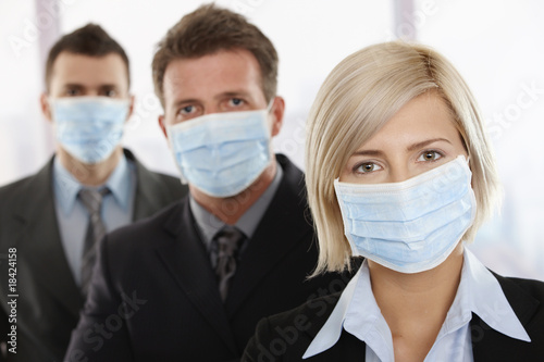 Fototapety, obrazy: Business people fearing h1n1 virus