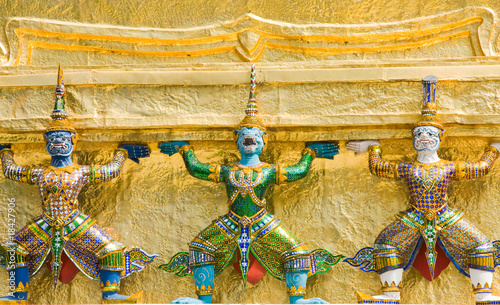 A kind of mythological soldier in Grand Palace in Bangkok