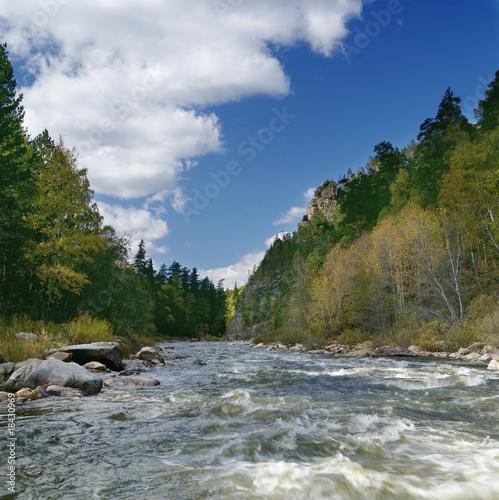 Foto op Aluminium Rivier River landscape in Autumn time. Ural mountains. Russia