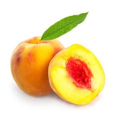 Peach with leaf