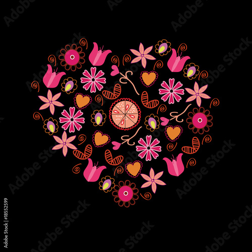 Floral Heart With Pink Flowers And Symbols On Black Buy This Stock