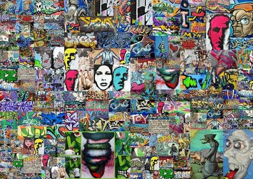 Deurstickers Graffiti collage cry tender