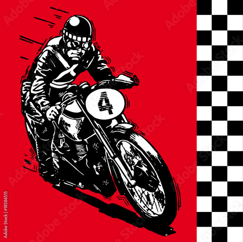 moto motocycle retro vintage classic vector illustration Wallpaper Mural