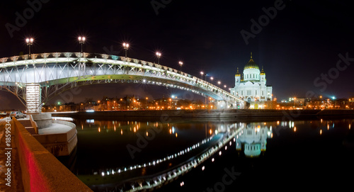City on the water Cathedral of Christ the Savior in Moscow at night