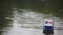 Radio Control Model Boat Running On Water
