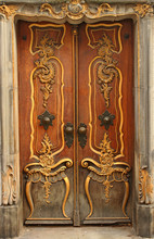 Old Door With Gold Ornaments