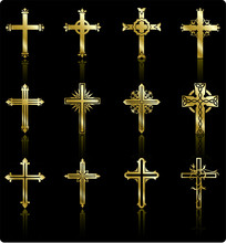 Religious Gold Cross Design Collection