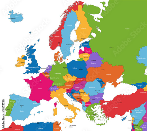 Fototapeta na wymiar Colorful Europe map with countries and capital cities
