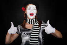 Happy Mime Comedian Showing Thumbs Up