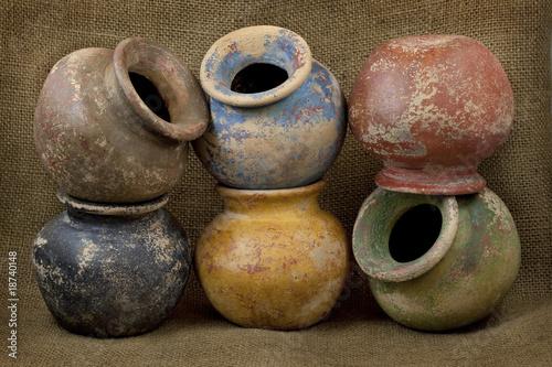 Fototapeta six clay plant pots with grunge finish