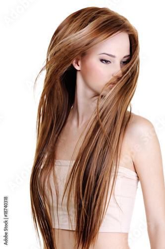 Fényképezés  Woman with beauty long straight hairs