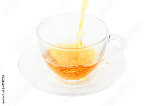 Stickers pour porte The Tea pouring, glass cup of tea isolated