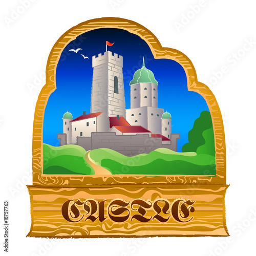 Poster Castle Old-fashioned medieval castle wood sign