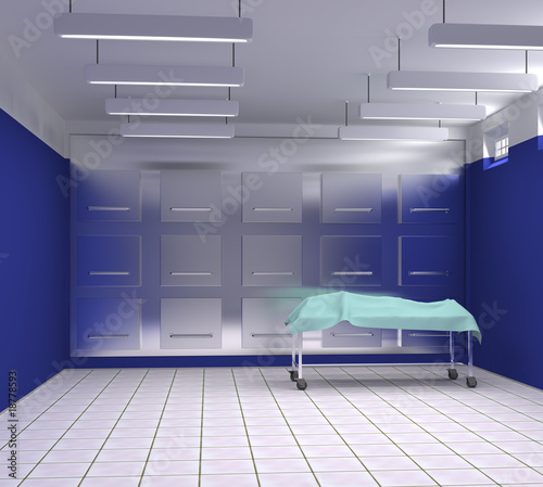 morgue with blue and white walls Canvas Print