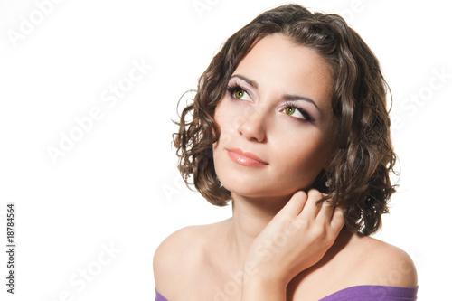 Valokuva  Young brunette girl isolated on white background