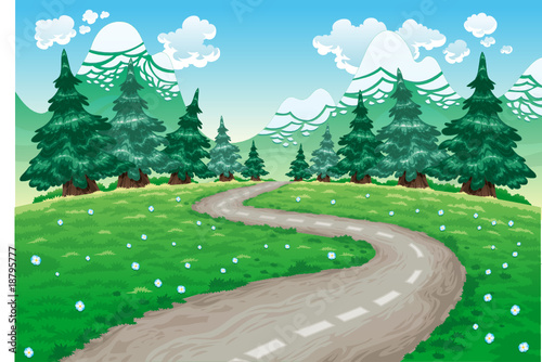 La pose en embrasure Forets enfants Landscape in nature. Cartoon and vector illustration.