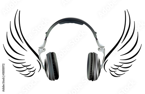 Foto  Kopfhörer mit Flügel