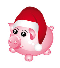 Piggy Bank With Santa Cap