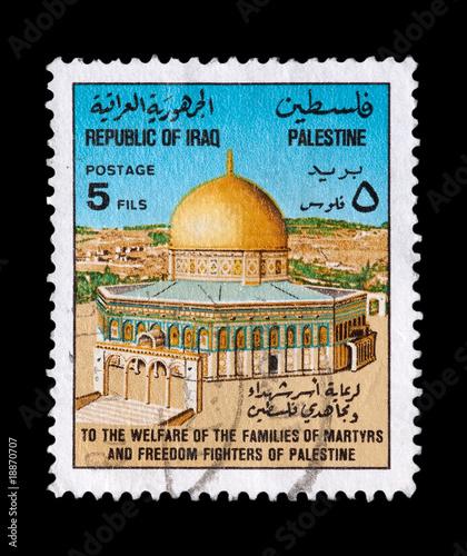 Fotografia  IRAQ stamp circa 1994 featuring palestine martyrs welfare