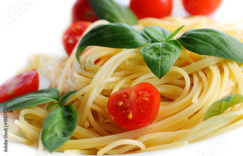 Fotografie, Obraz  Pasta with tomatoes and basil