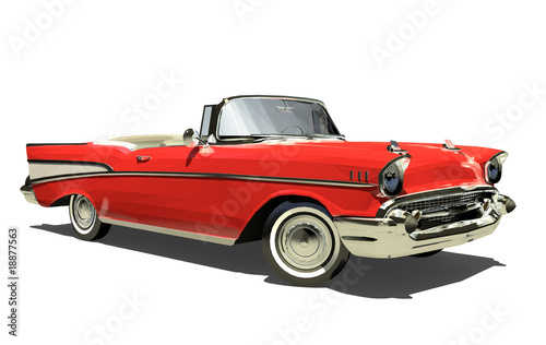 Red old car with an open top. Convertible. Isolated