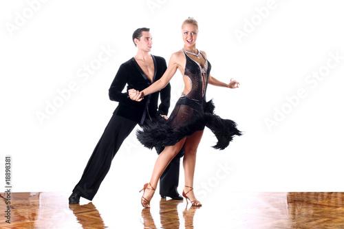 dancers in ballroom against white background Fototapete