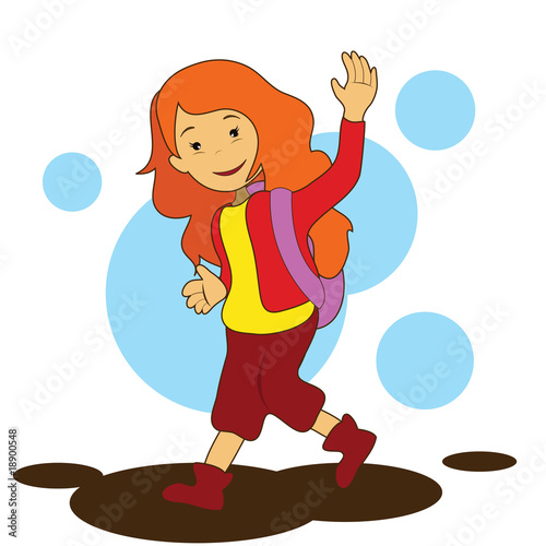 Papiers peints Chambre bébé girl going to school