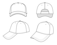 Outline Cap Vector Illustratio...